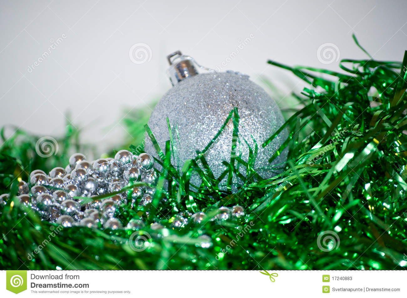 Silver And Green Christmas Decorations Stock Photos