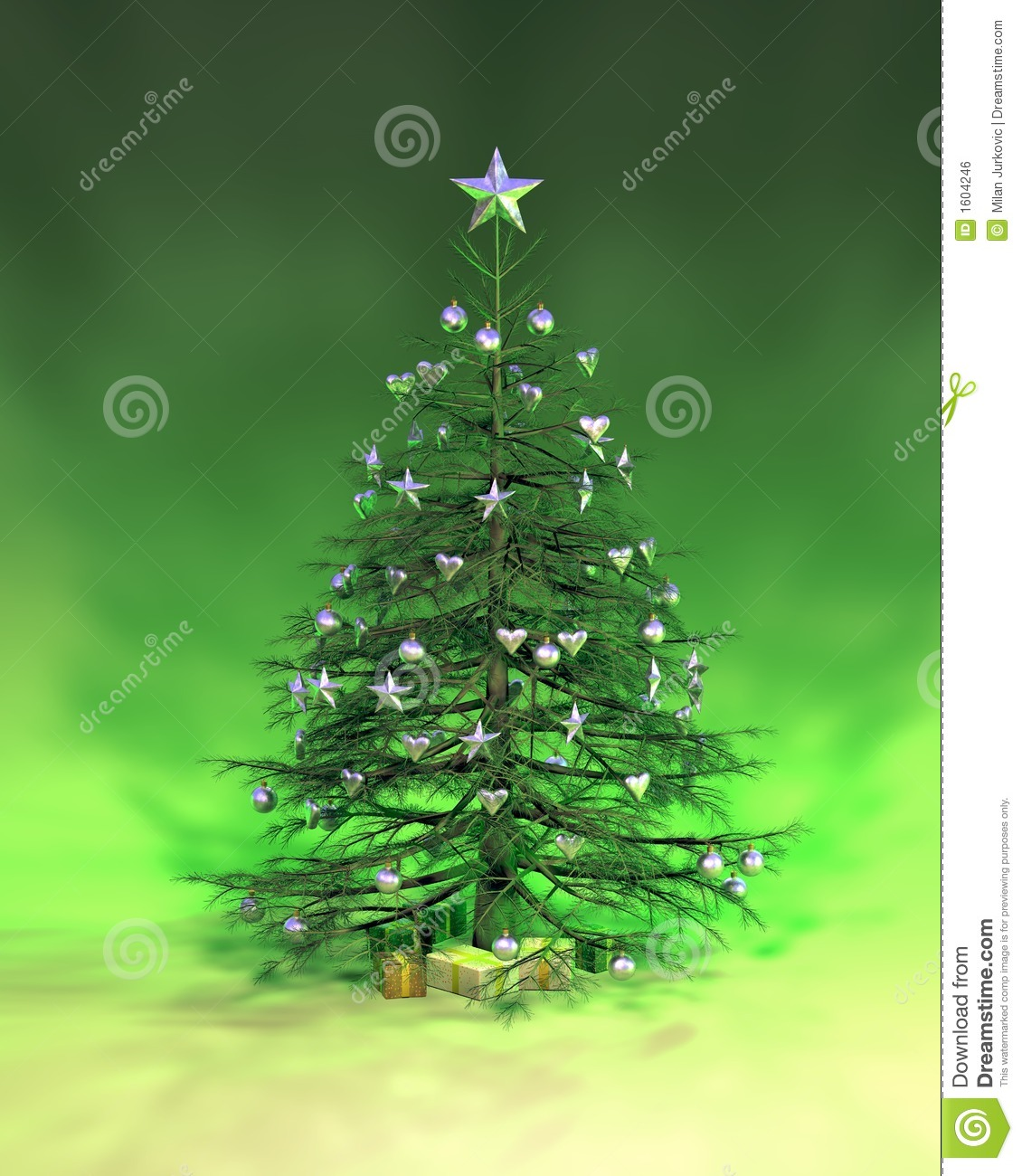 silver christmas tree silver green tree stock illustration image 11586
