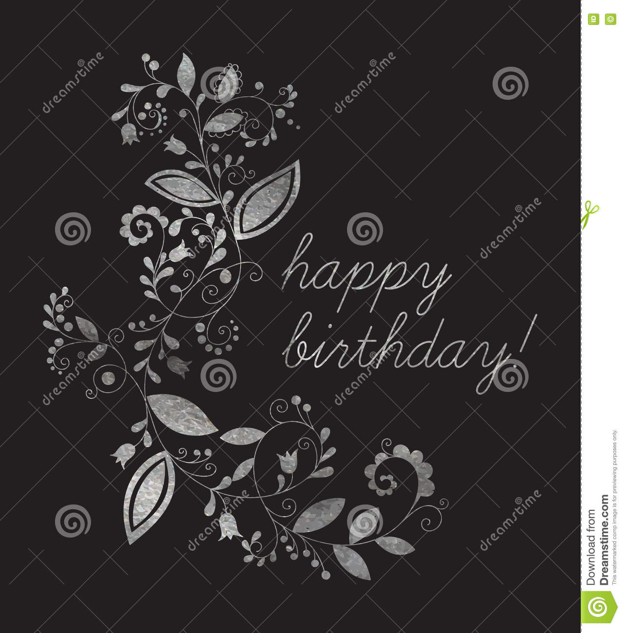 Silver Greeting Happy Birthday Card Stock Vector Illustration Of