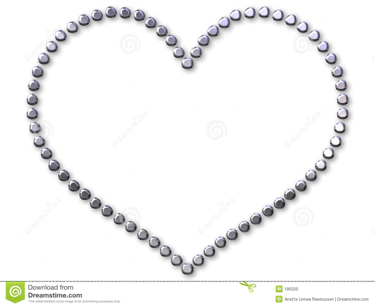 Silver Heart Made With Dots Stock Photo