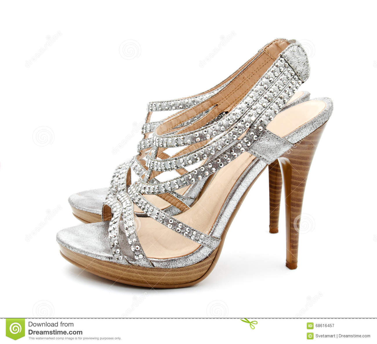 Womens Silver High Heel Shoes