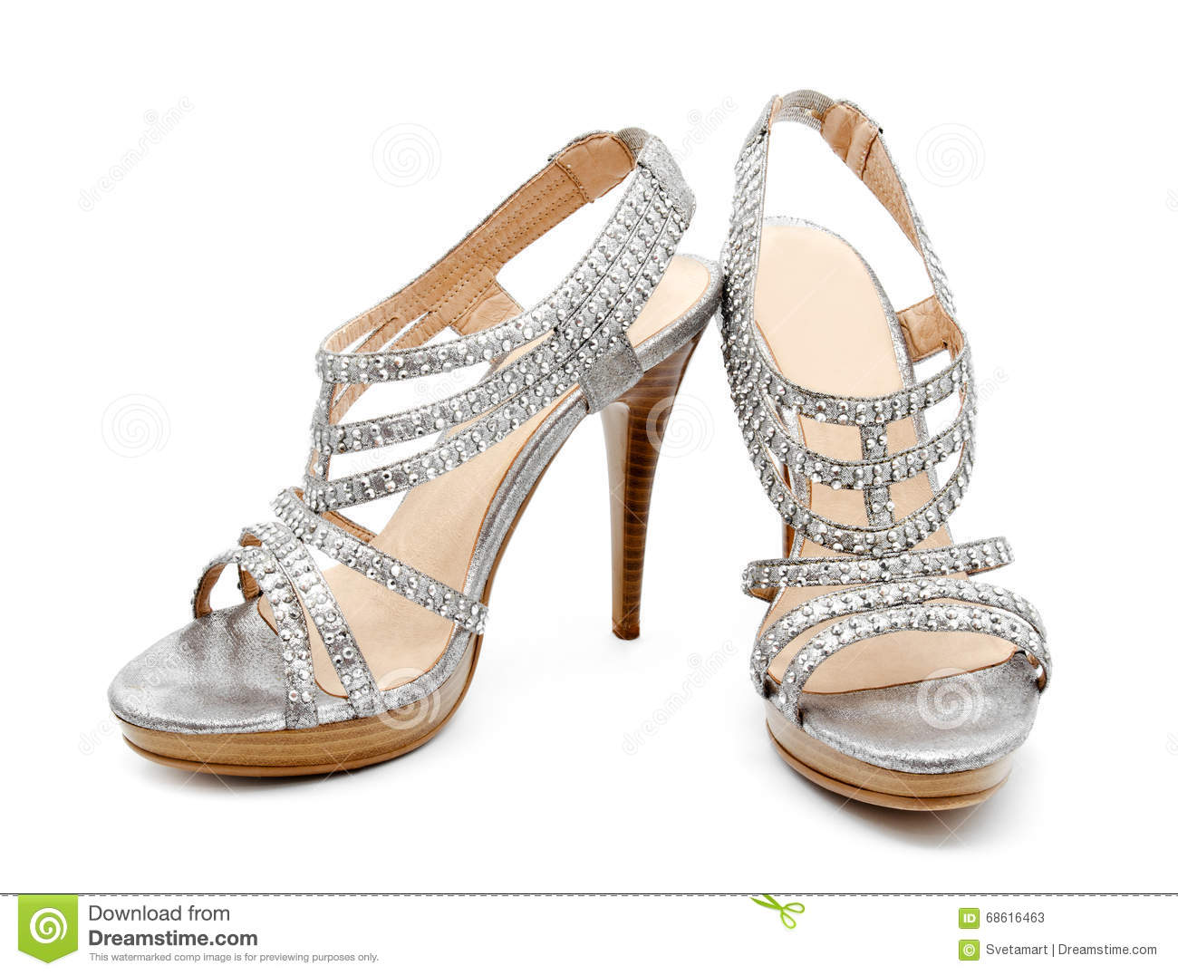 c44f0cfae2a Silver High Heel Women Shoe Isolated Stock Image - Image of shoe ...