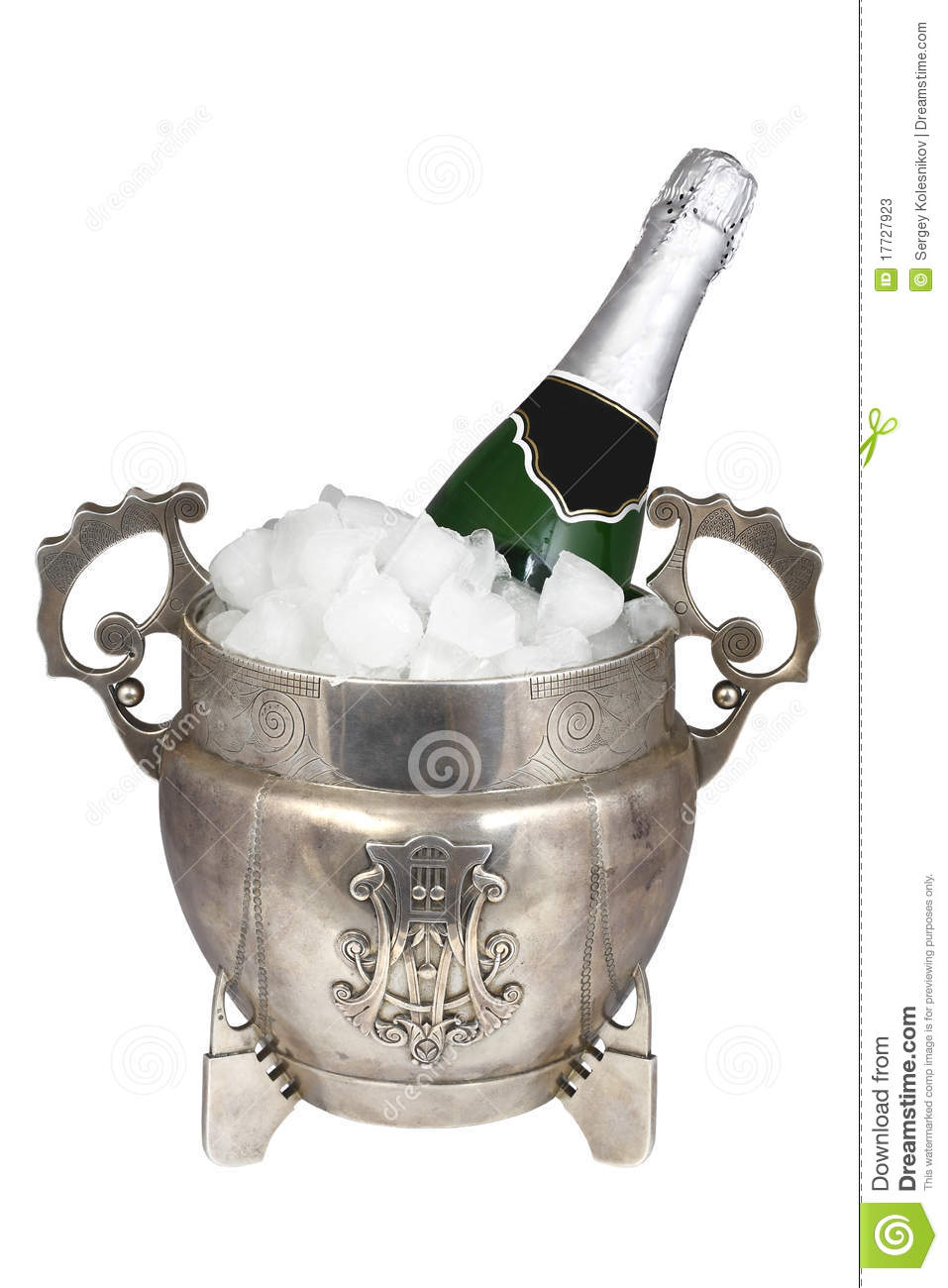Silver Ice Bucket And A Bottle Of Champagne Stock Image Image