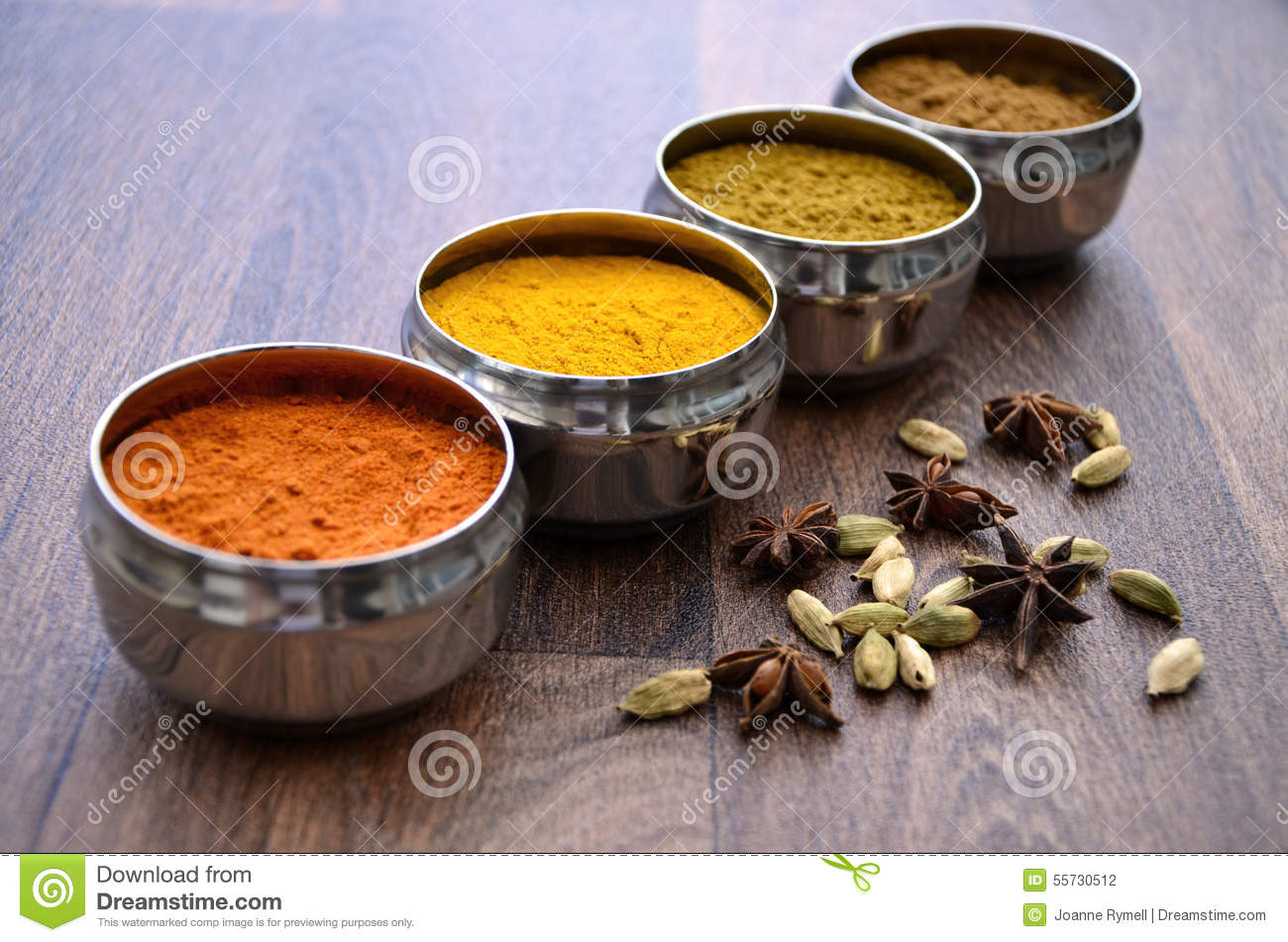 Silver indian spice pots on wood stock photo image 55730512 for 4 spice indian cuisine
