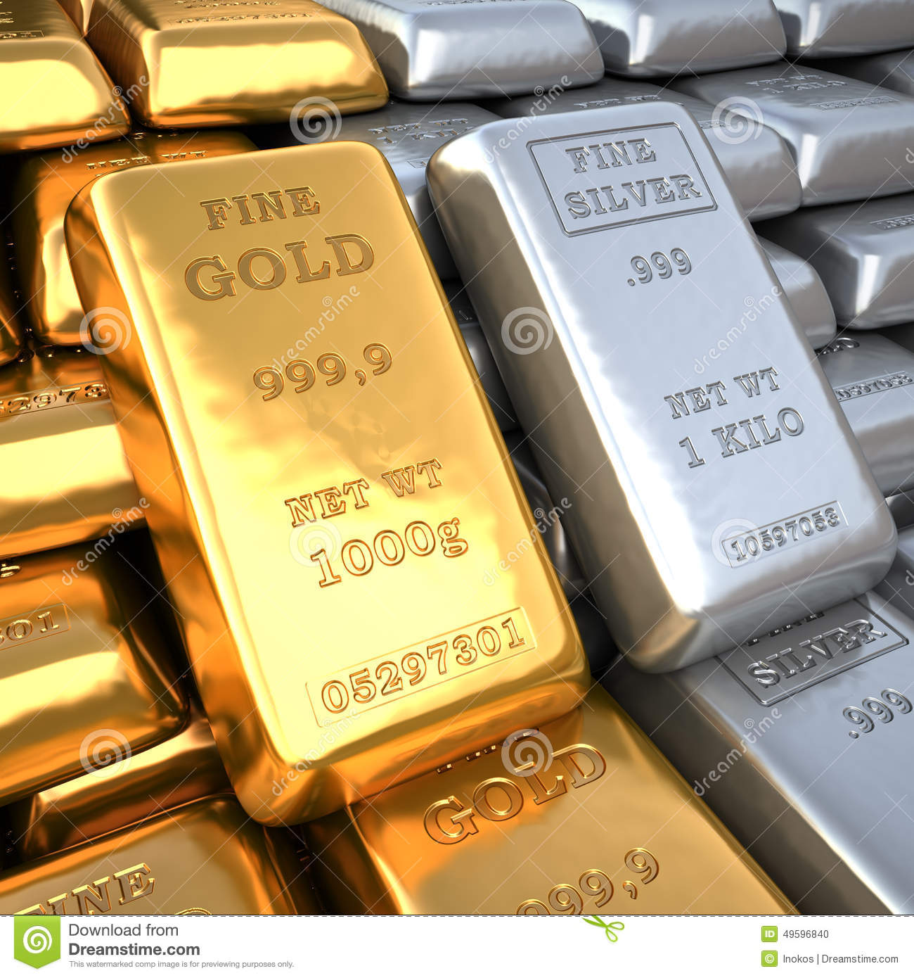 Silver Ingot And Gold Bullion Finance Illustration Stock