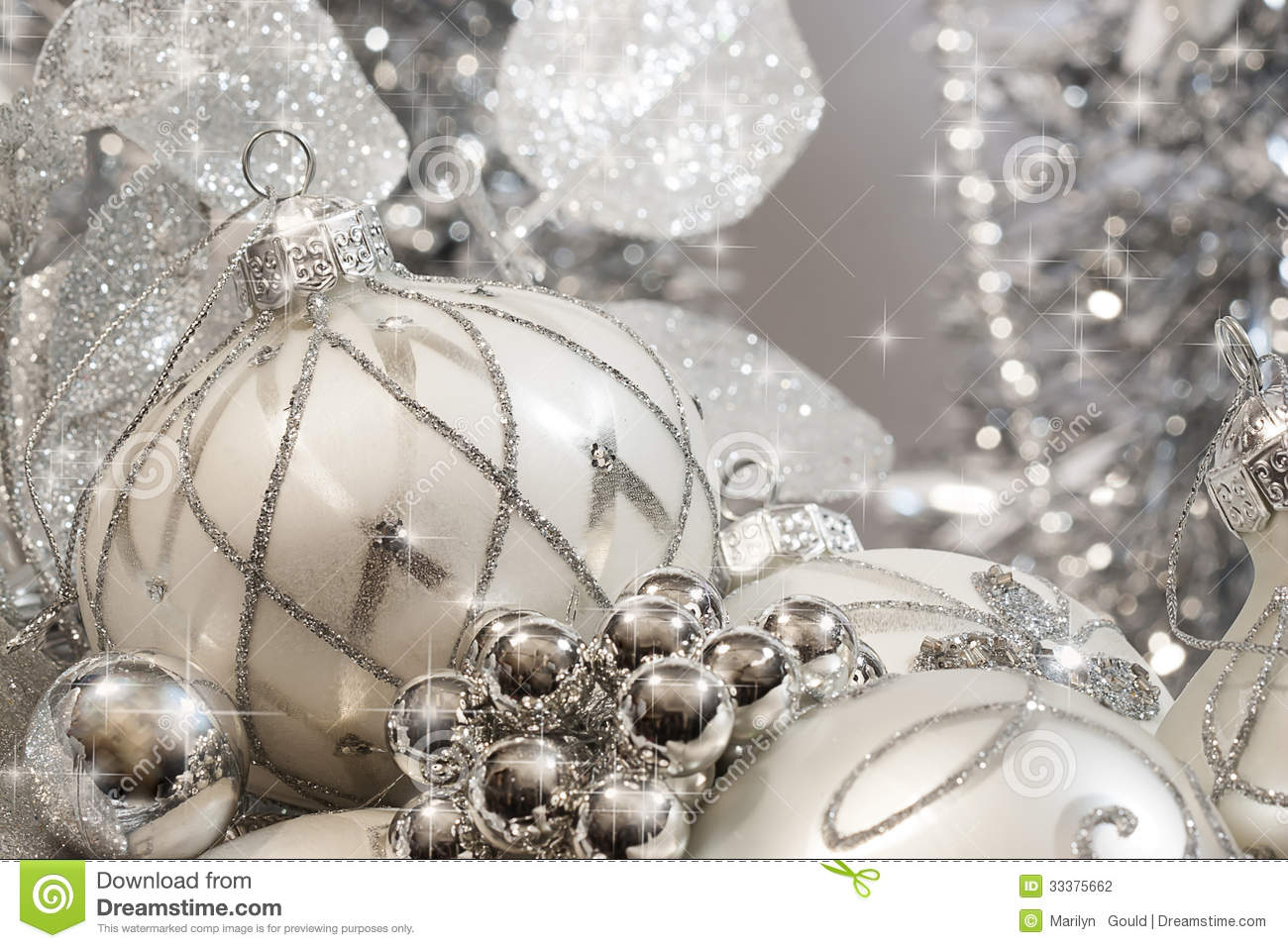 Ivory and silver christmas ornaments stock photo image of