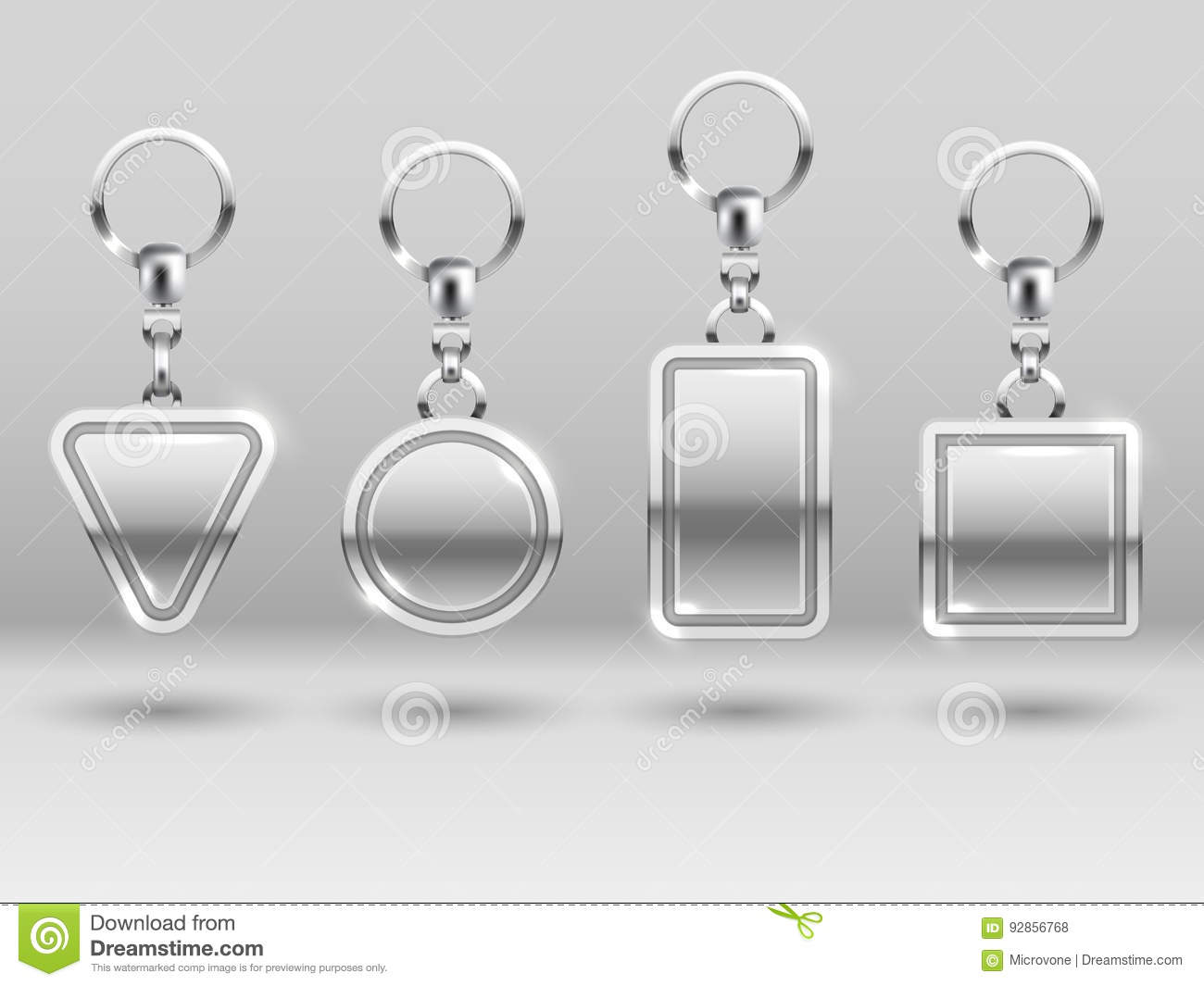 Silver Keychains In Different Shapes For House Door Vector Templates ...