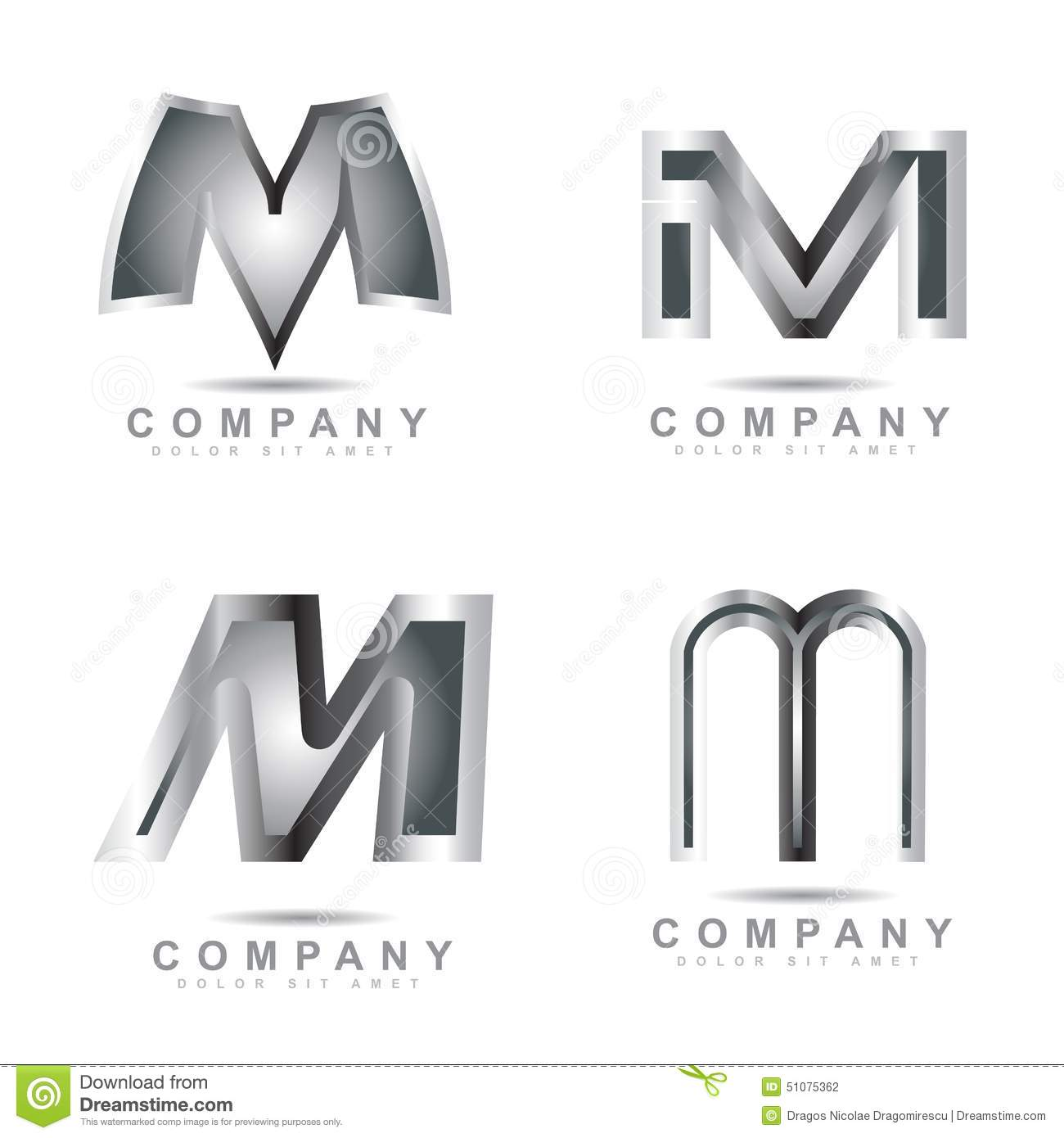 Silver Letter M Logo Stock Vector Illustration Of Games