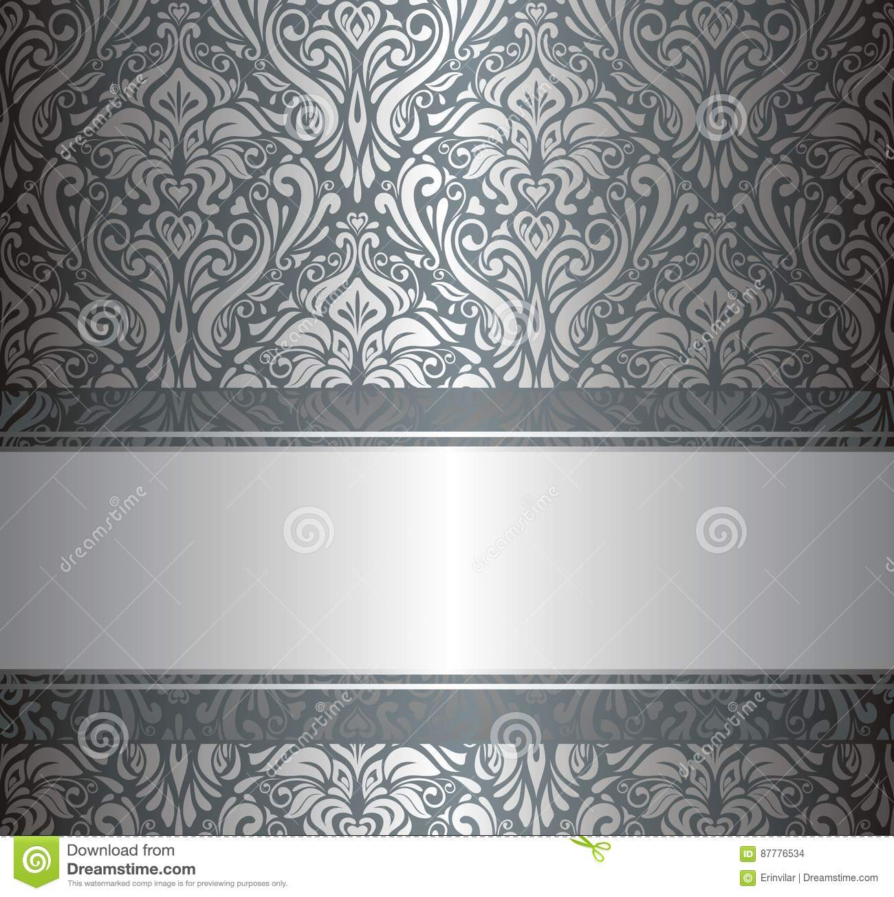 Silver Luxury Vintage Wallpaper Stock Vector Illustration Of