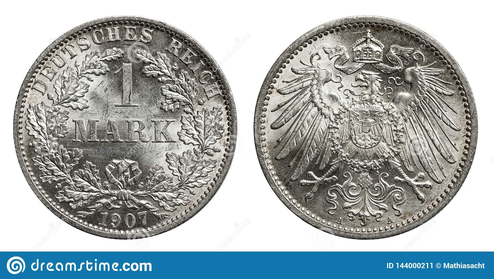 Silver mark coin Germany 1907