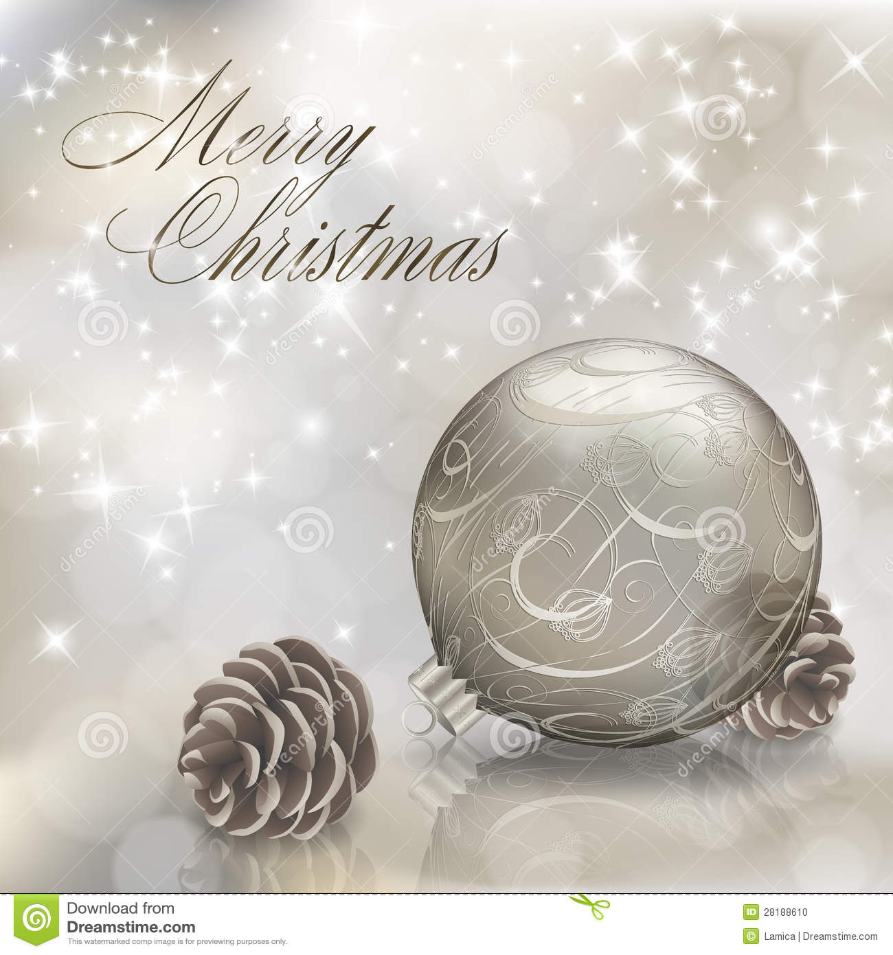 Silver Merry Christmas greeting card