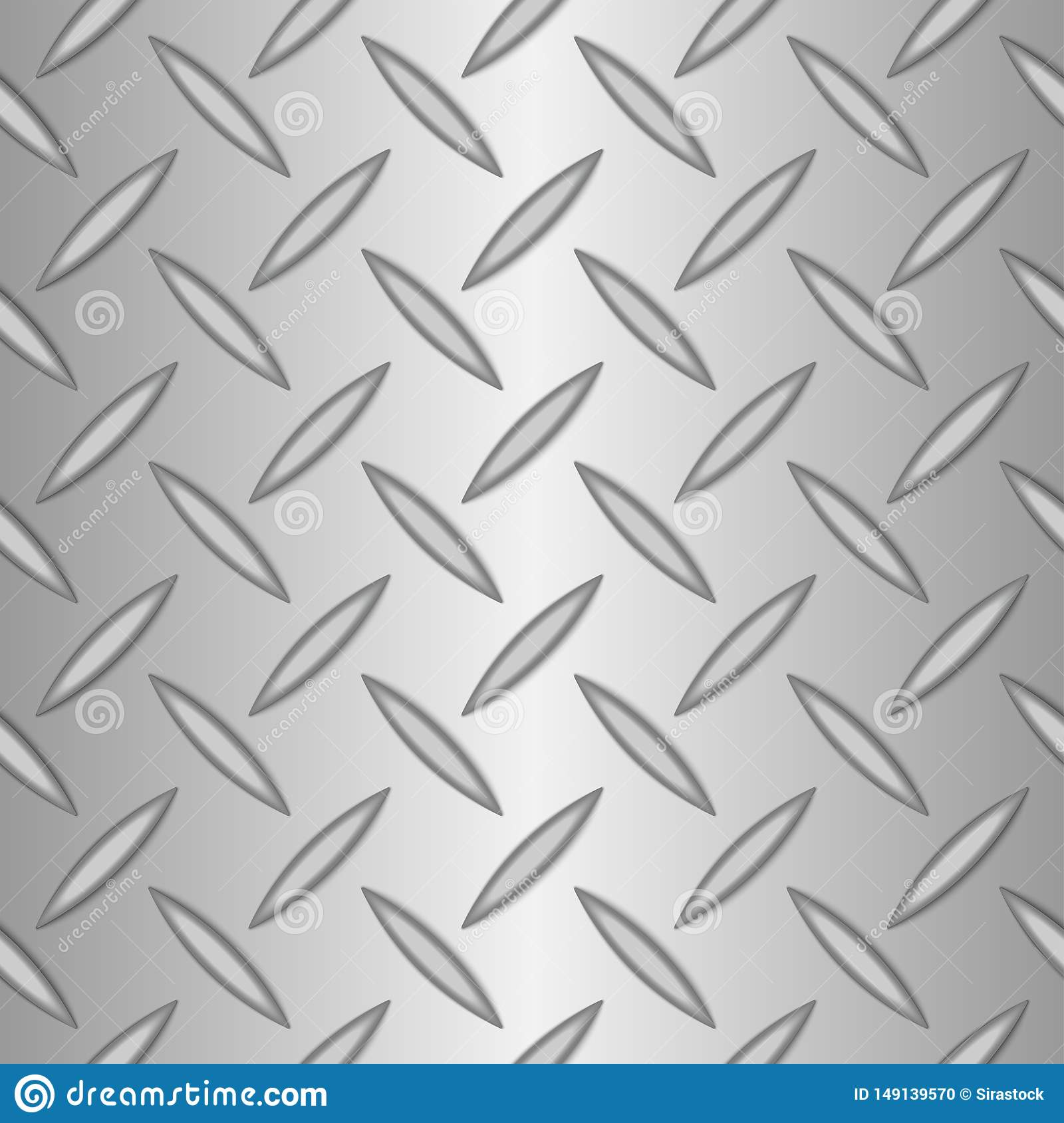 Silver Metal Background Of Seamless Diamond Plate Stock Vector