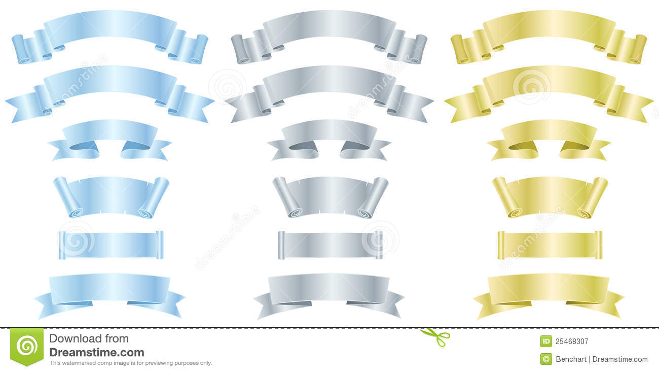 Silver, Metal And Gold Banners Or Ribbons Stock Vector ...