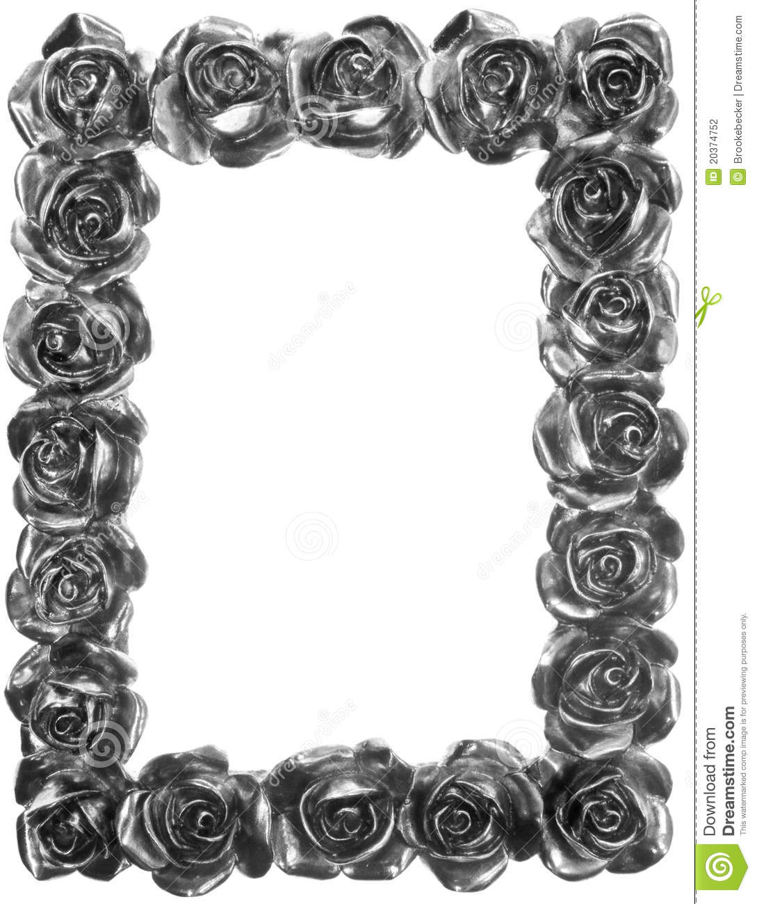 Silver Metal Rose Ornate Frame Stock Photography Image