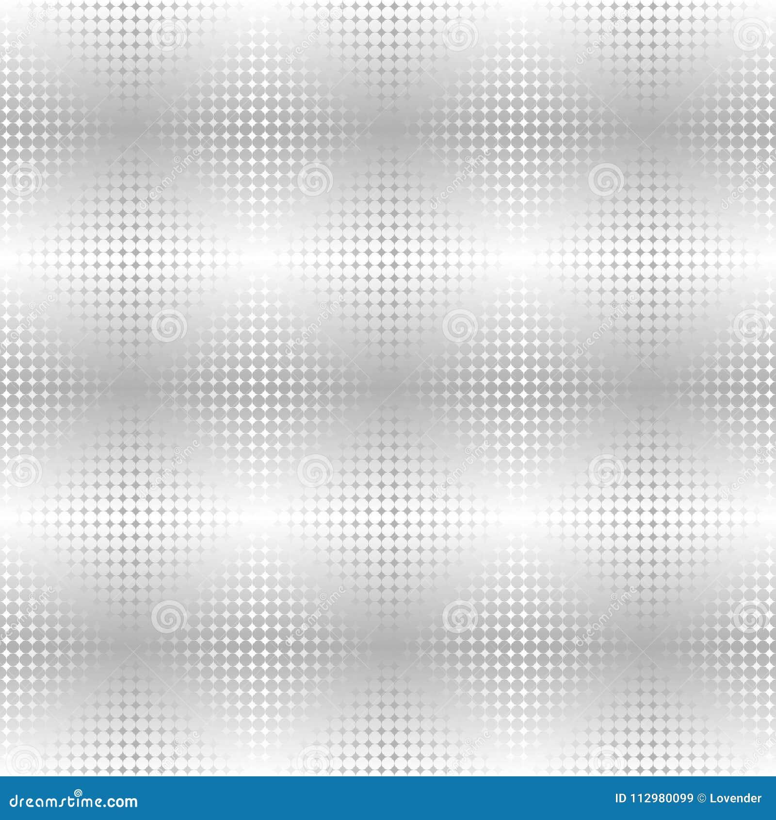 Silver metallic star pattern. Vector seamless background