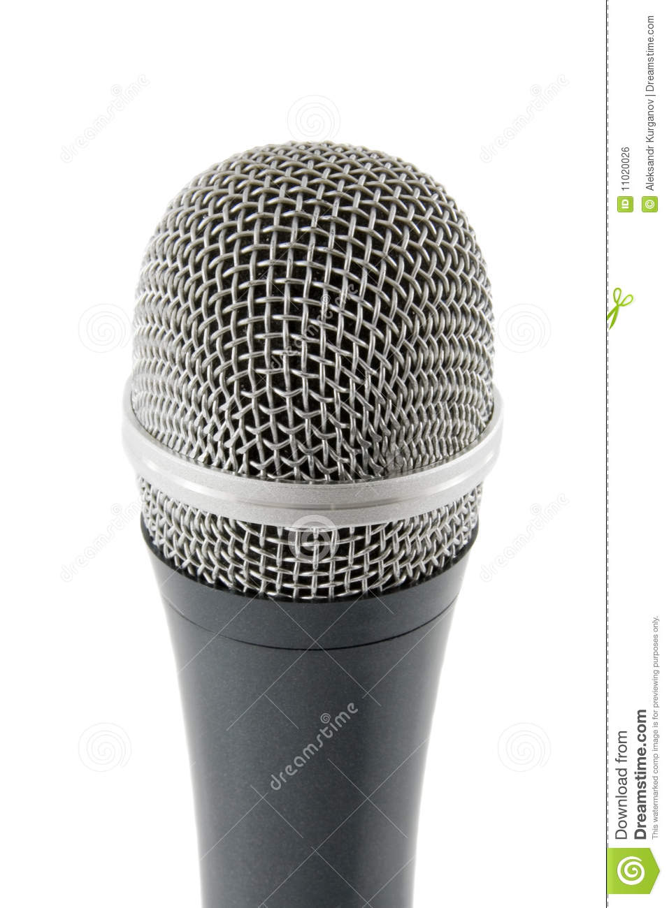 Silver microphone isolated over white background