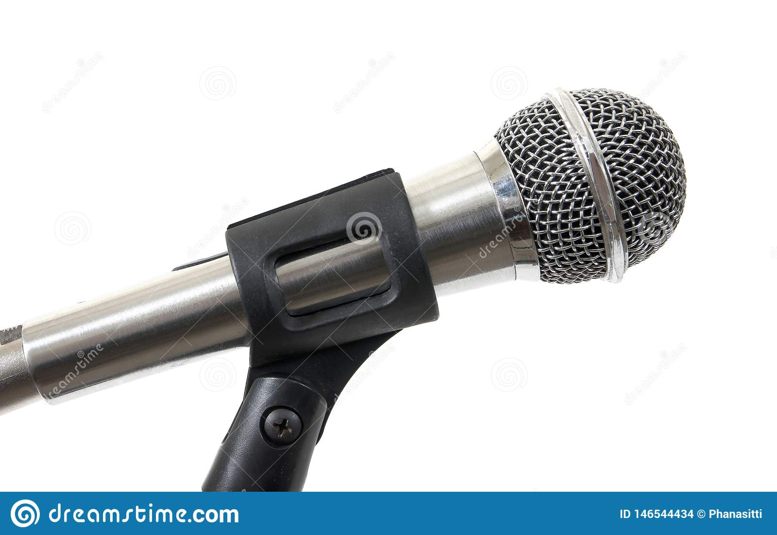 Silver microphone isolated on white background. Microphone isolated
