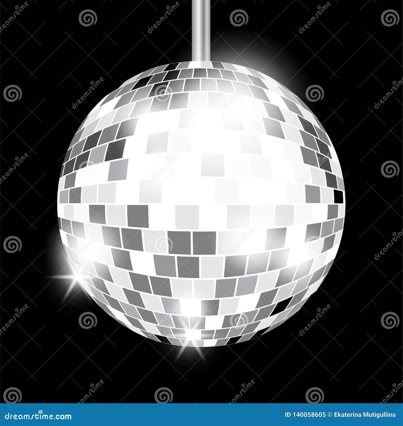 Silver mirror disco ball isolated