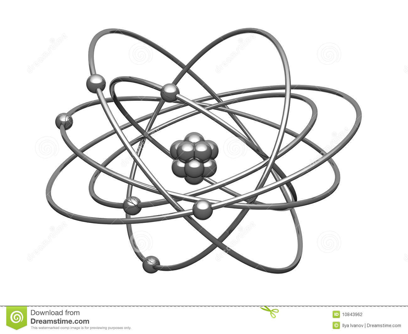 Silver model of the atom with central kernel surrounded electrons