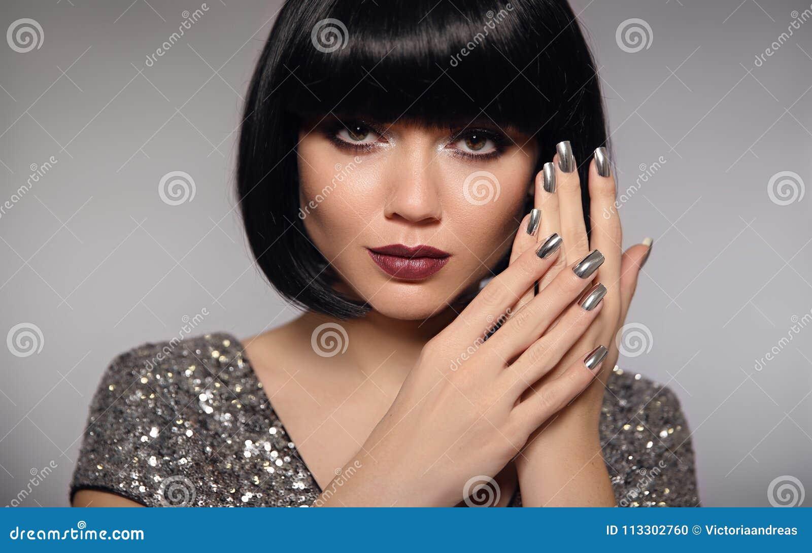 Silver Nail Art Polish Manicure Short Bob Hair Woman Model Fas