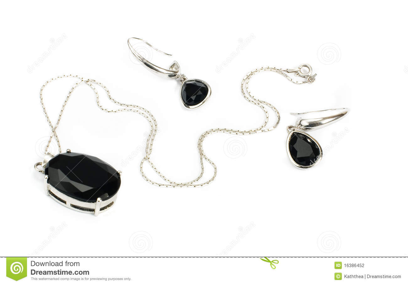 Silver Necklace With Black Pendant & Earrings Isol Stock ...