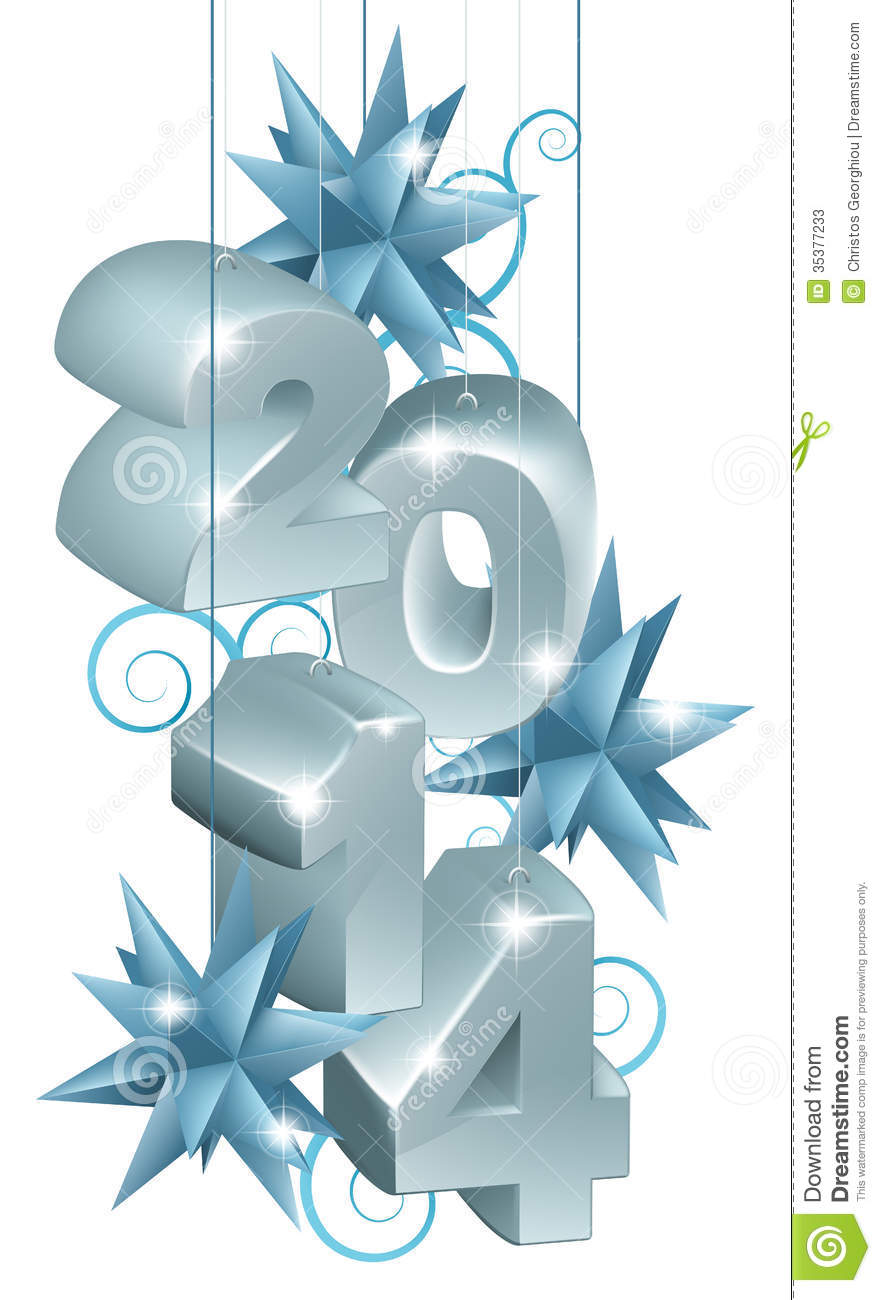 Silver New Year Or Christmas 2014 Decorations Stock Vector