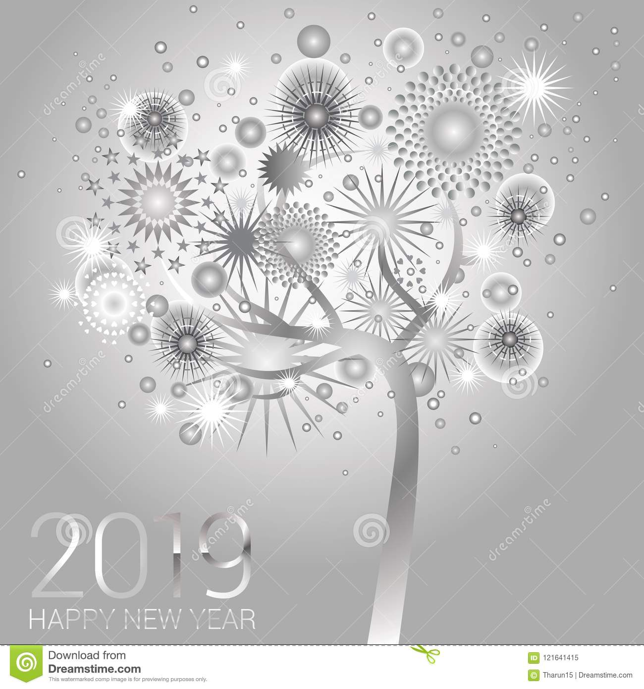 silver new year tree with sparkling fireworks on a silver background