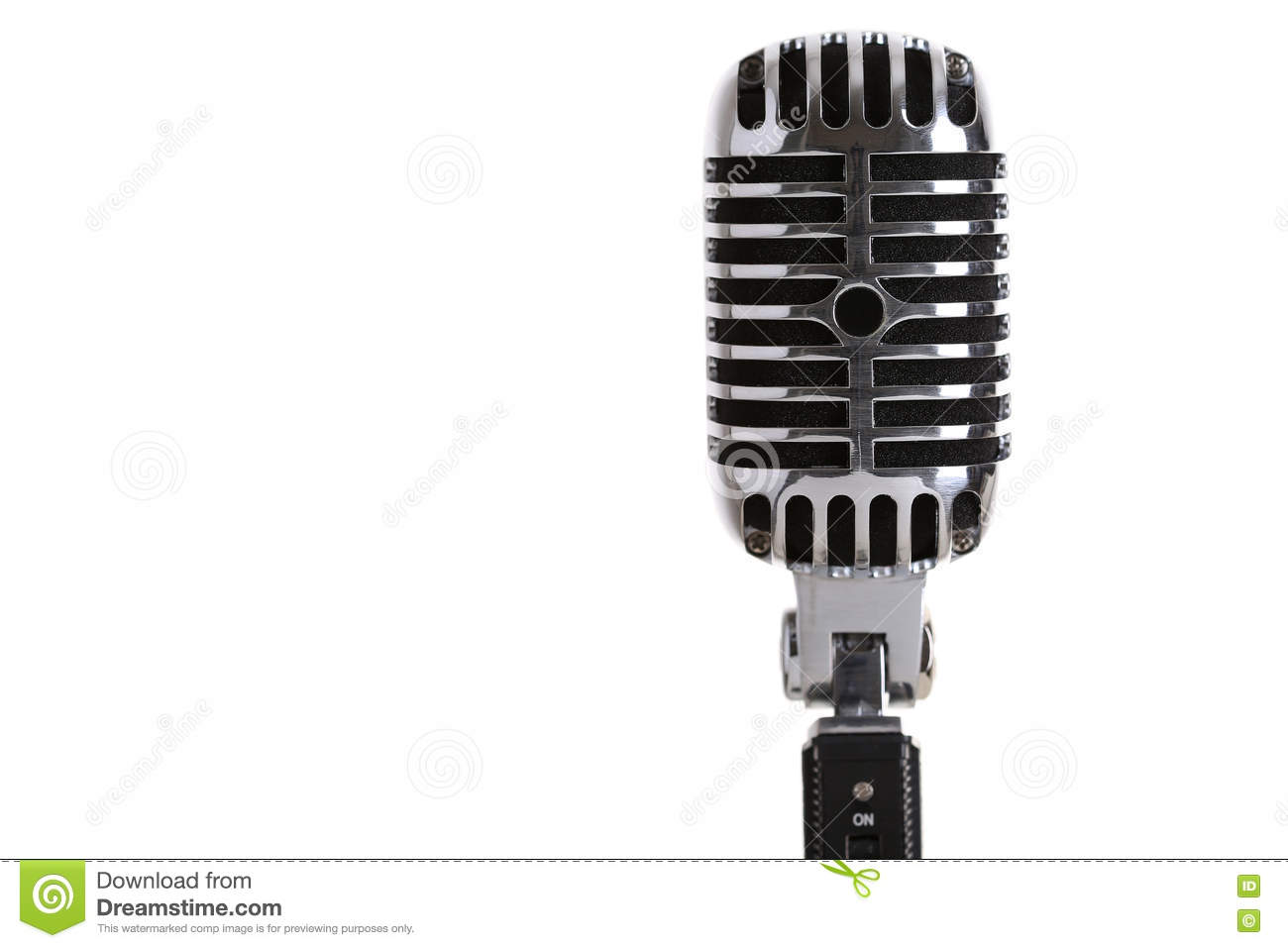 Silver old fashioned stage microphone closeup