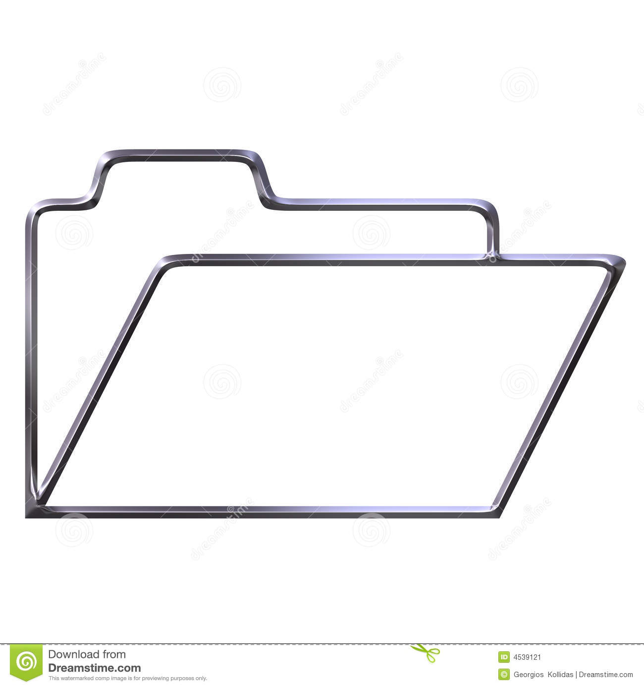 Silver Opened Folder Silhouette Stock Image - Image: 4539121