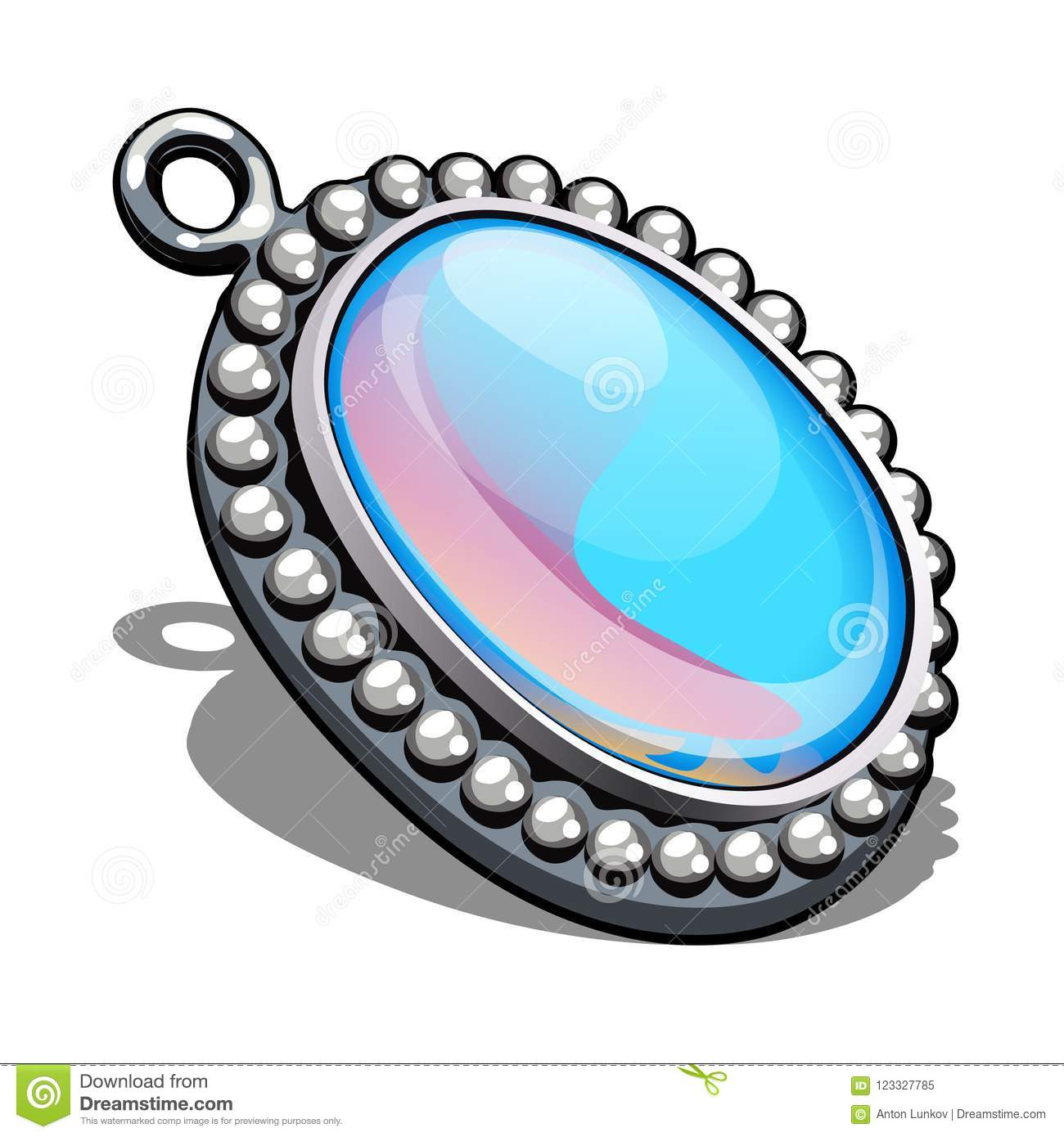 Silver oval pendant with inlaid moonstone in the style cabochon isolated on white background. An instance of boutique