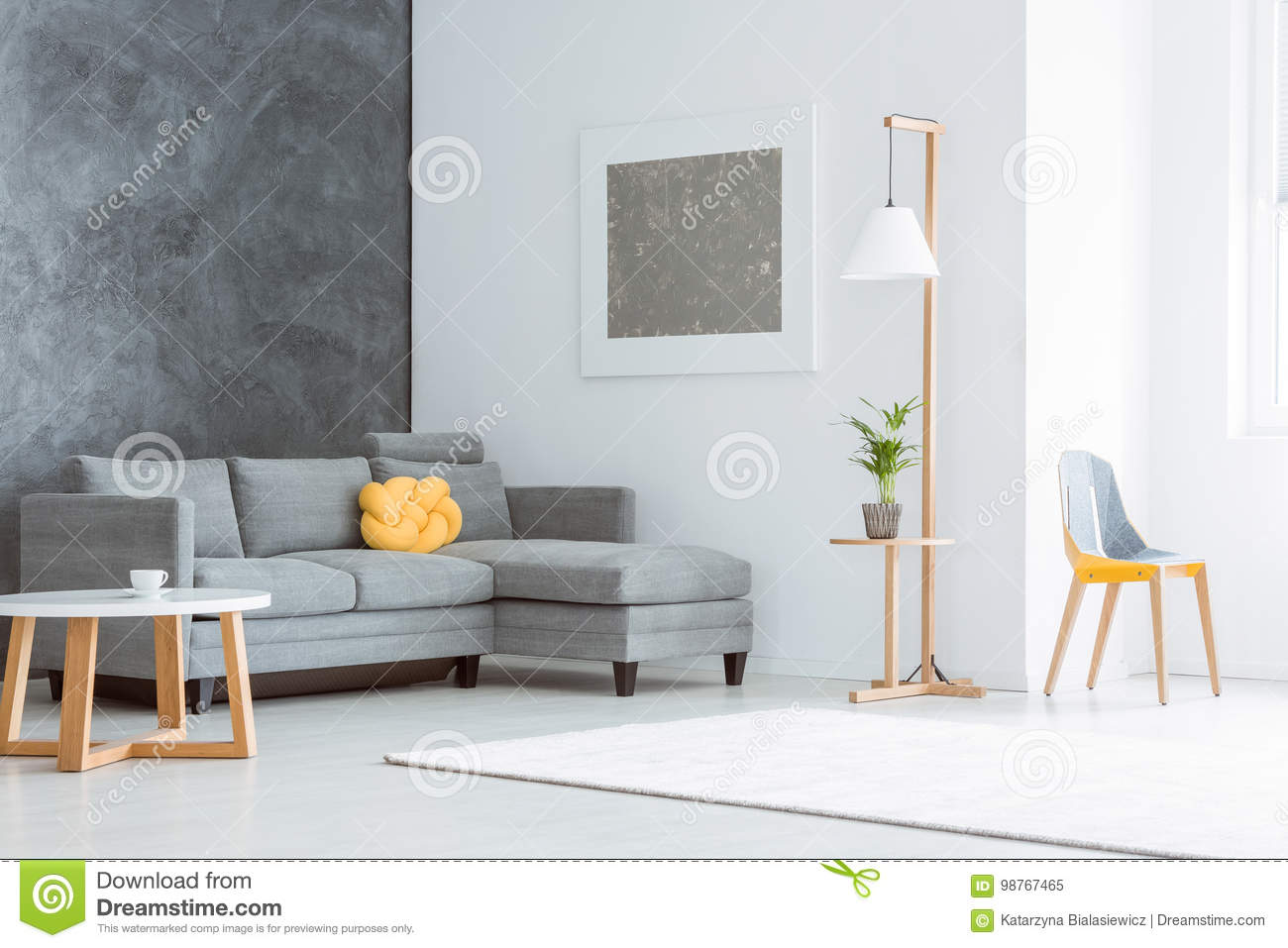 Spacious Living Room With Painting Stock Image - Image of minimal ...