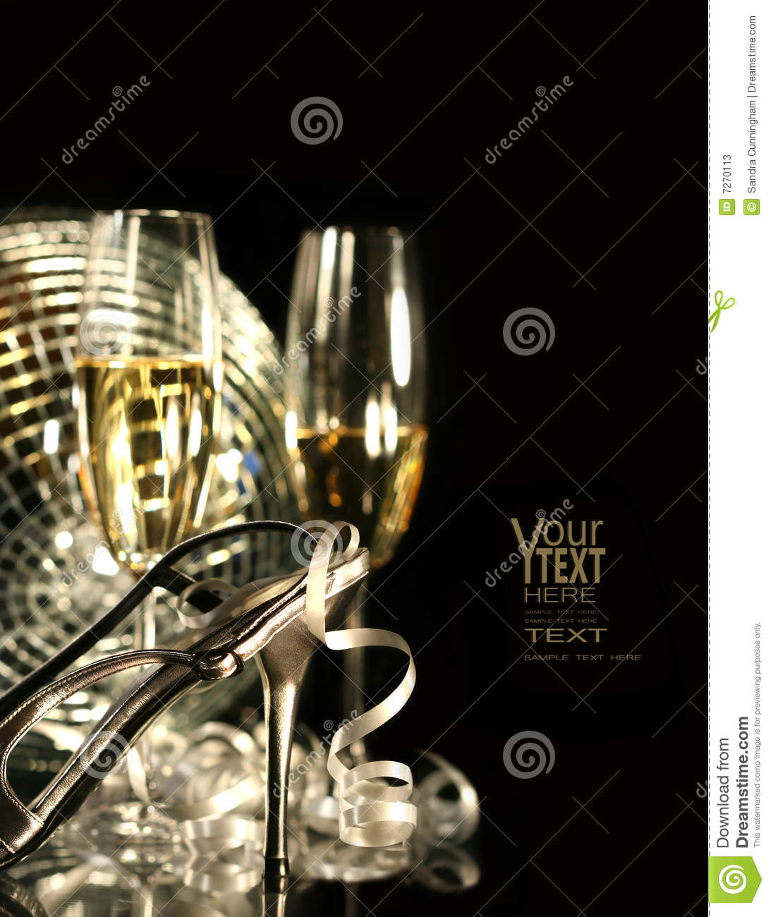Silver party shoe with glasses of champagne