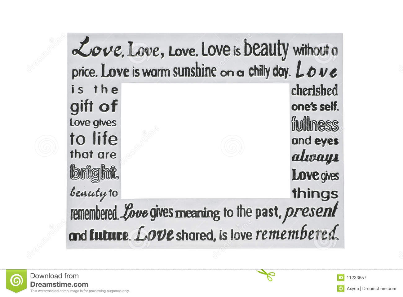 Silver Photo Frame With Love Poem Royalty Free Stock Photography ...