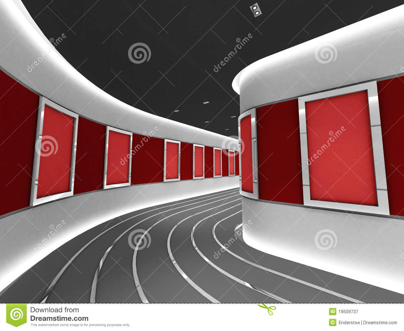 Silver Picture Frames In A Modern Gallery Tunnel Stock Illustration ...