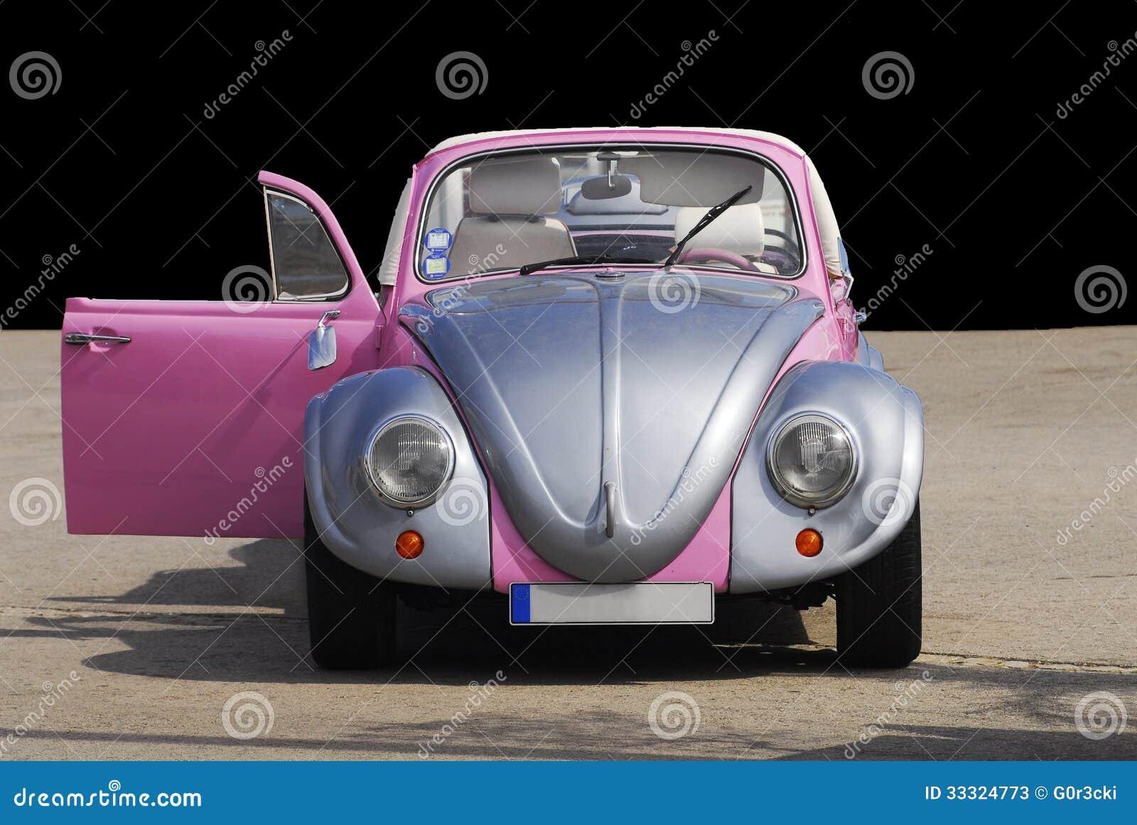 Silver Plated Pink Beetle Vintage Car Open Door