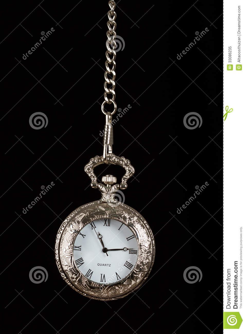 Silver Pocket Watch Hang On Chain Royalty Free Stock Photo ...