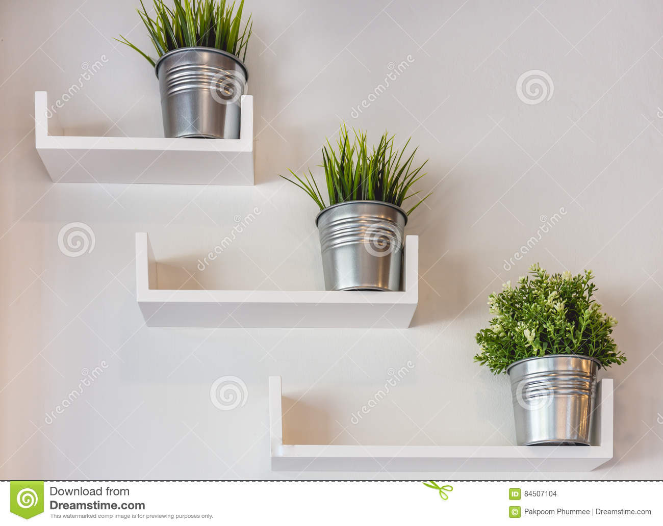 silver potted plants on white wall stock photo image of restaurant rh dreamstime com
