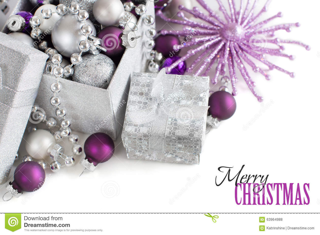Lavender christmas ornaments - Silver And Purple Christmas Ornaments Border