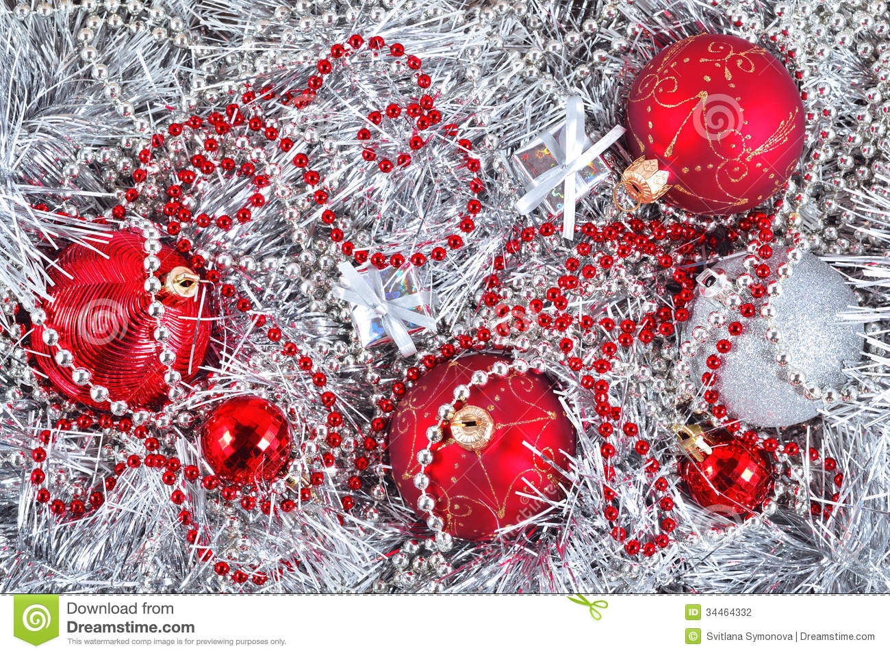 Silver and red christmas decorations stock photo image for Red and silver christmas decorations
