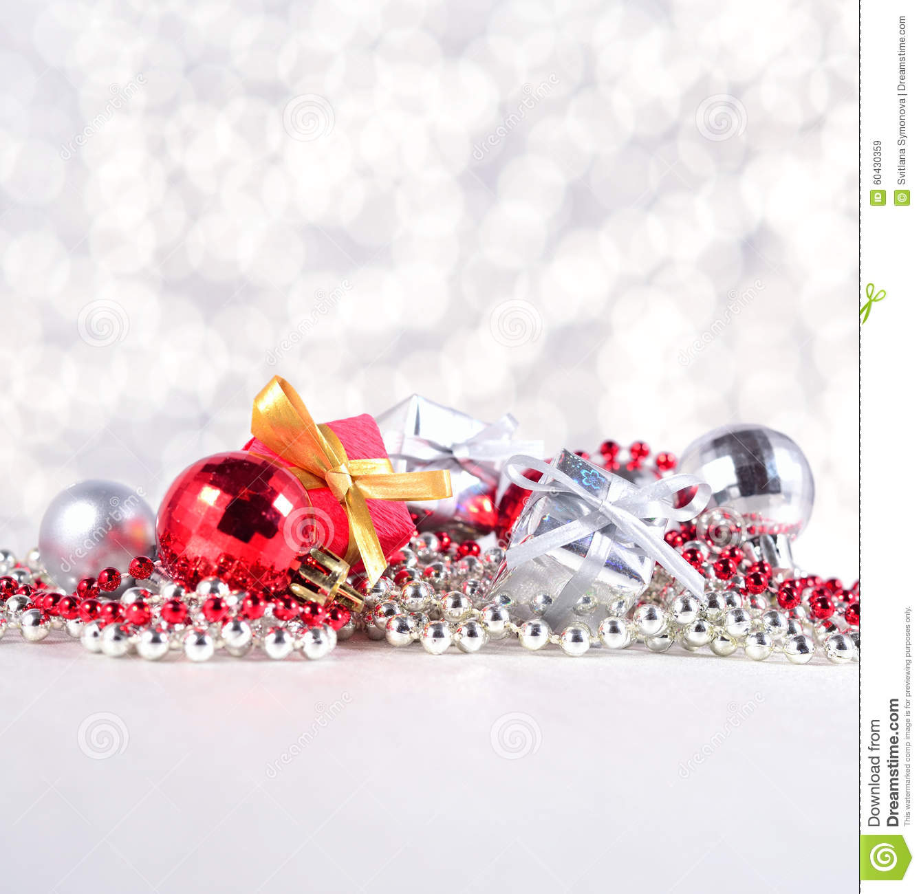 Silver and red christmas decorations - Silver And Red Christmas Decorations Stock Photo