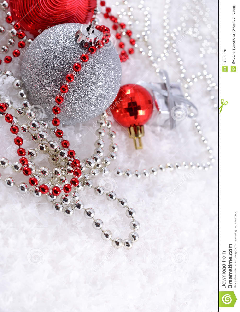 Silver and red christmas decorations stock photo image 34302170 - Red silver and white christmas decorations ...