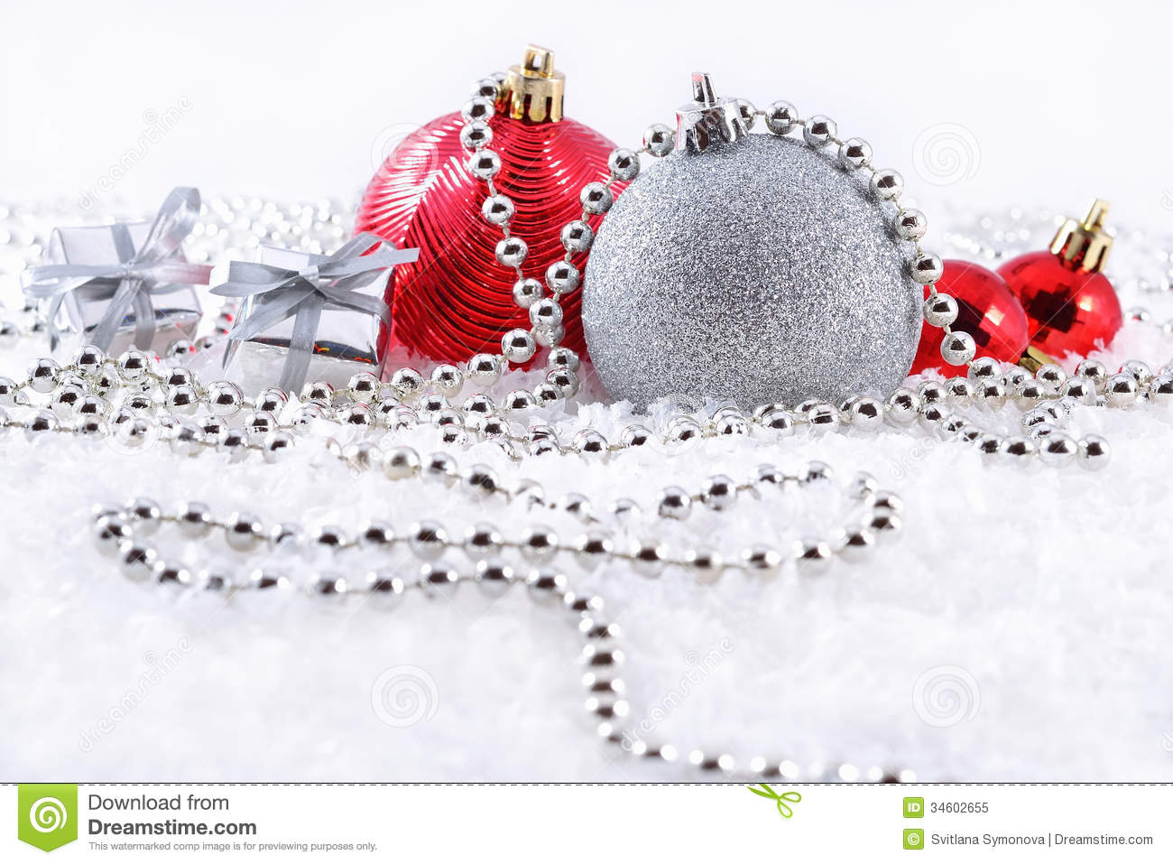 Silver And Red Christmas Decorations Royalty Free Stock Photo Image 34602655