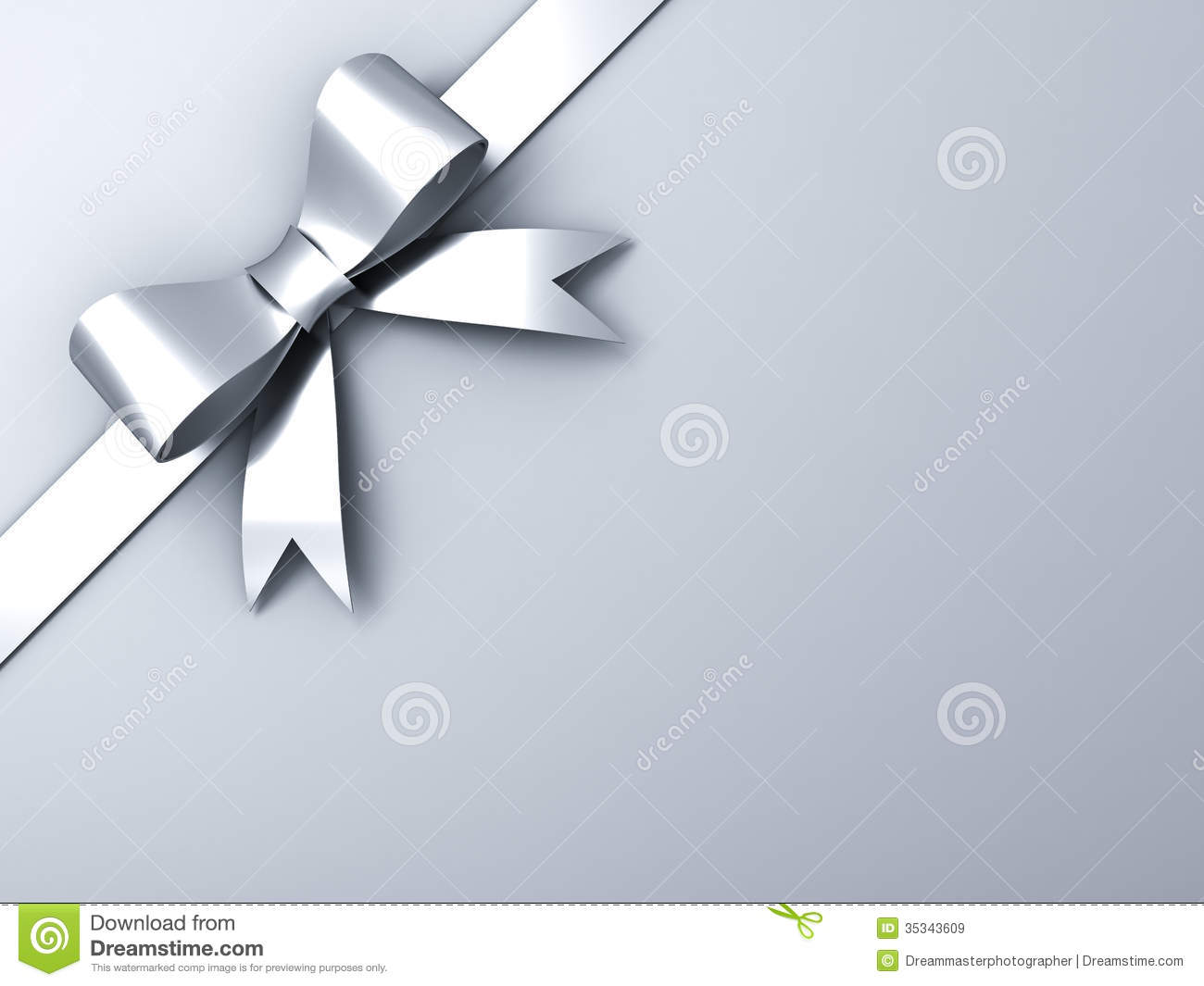 silver ribbon bow on corner gray background stock