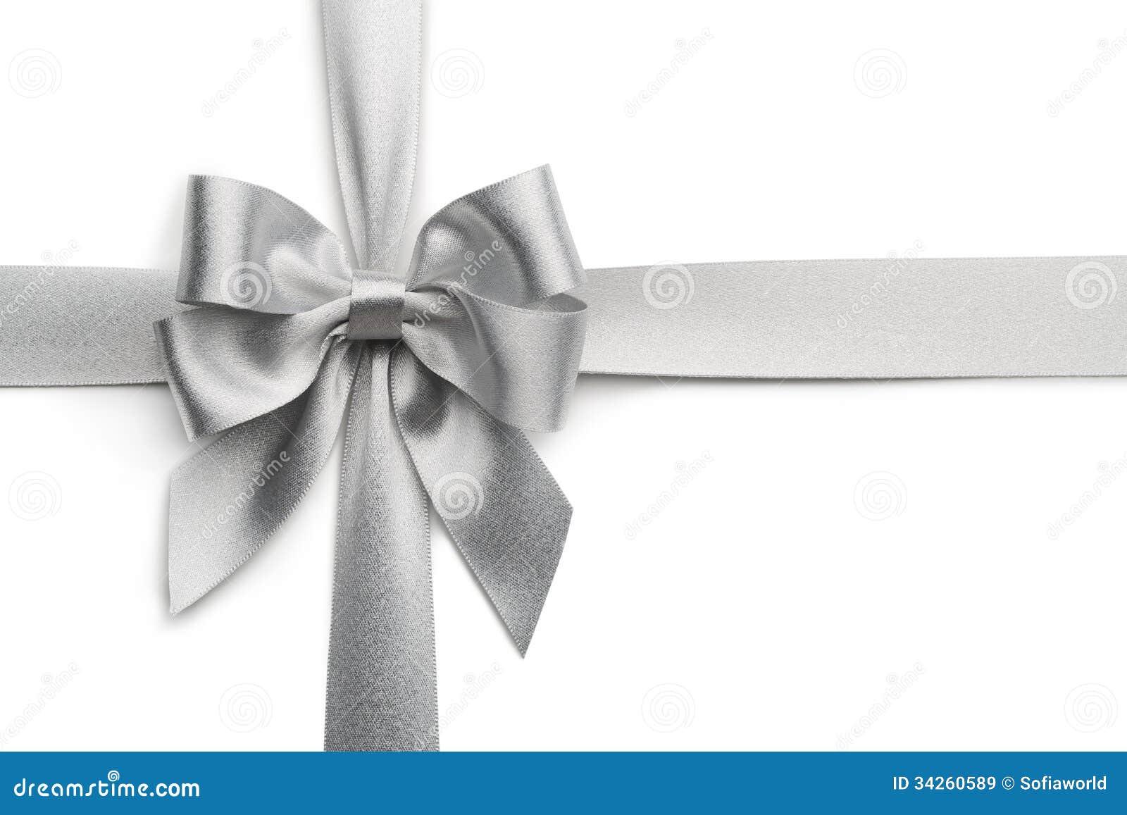 Silver ribbon bow stock image. Image of nobody, decoration ...  Silver ribbon b...