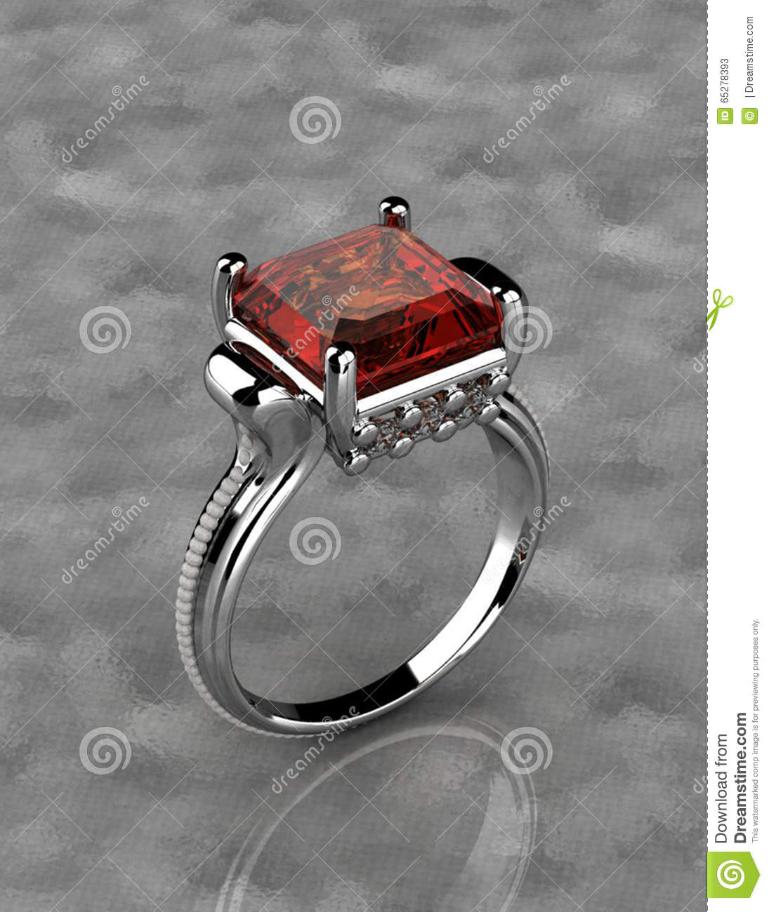 Silver Ring With Red Diamond Stock Photo
