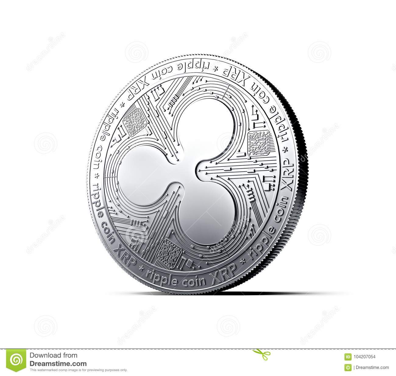 a8d69a6dff008 Silver Ripple XRP coin isolated white background. 3D rendering. New virtual  money vector illustration