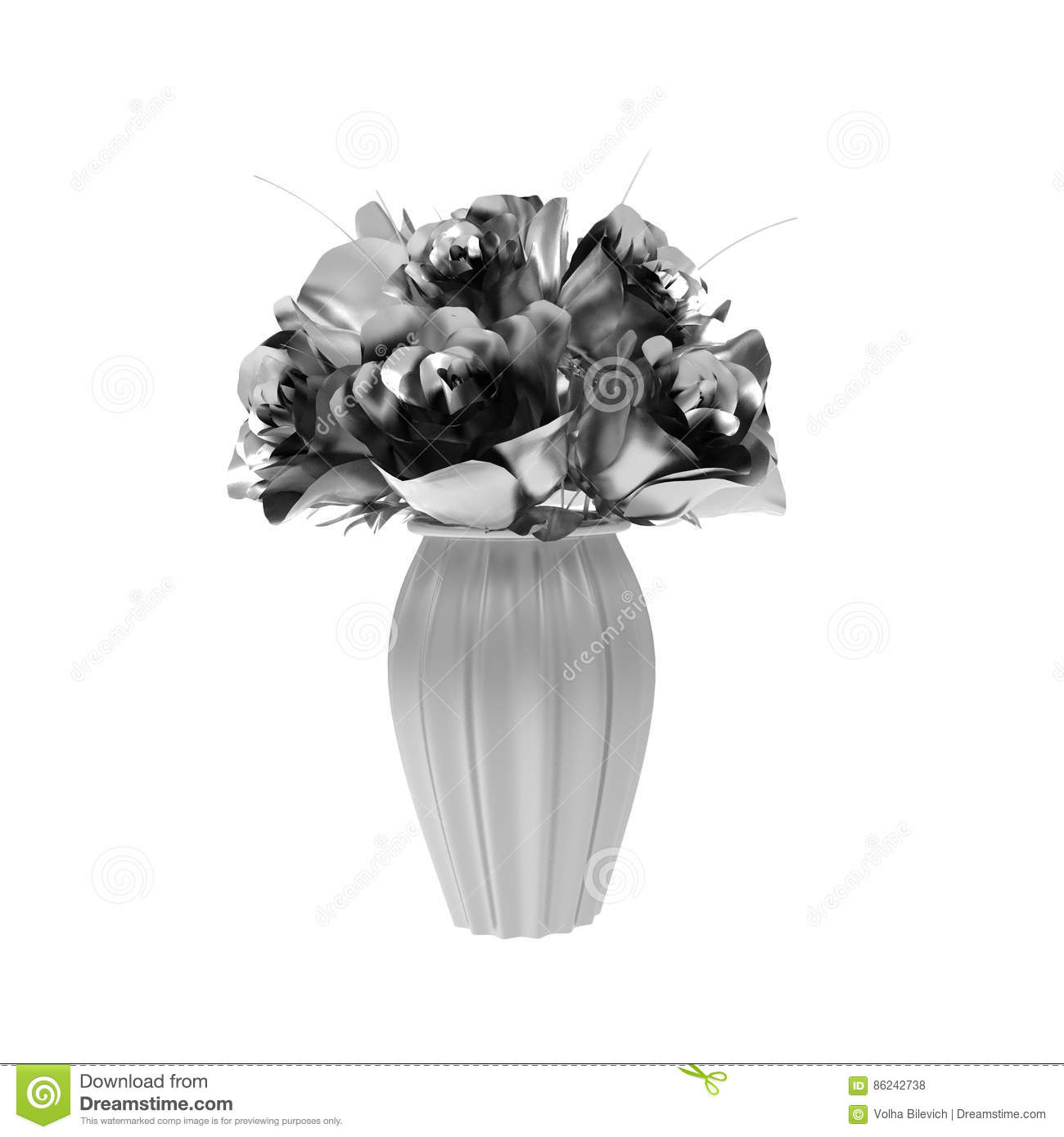 Download Silver Rose 3d Render Isolated On White Stock Illustration