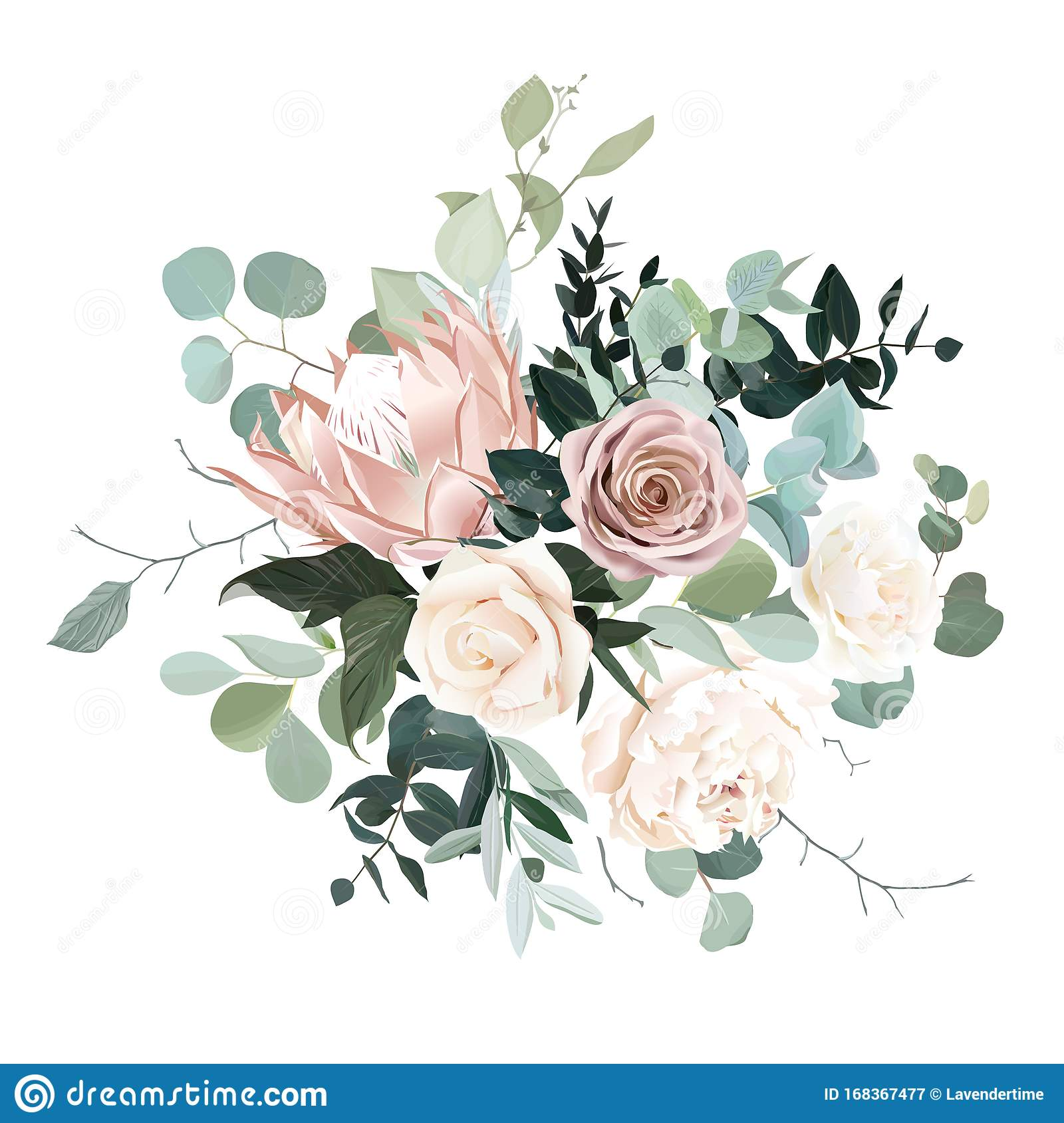 Silver Sage And Blush Pink Flowers Vector Design Bouquet Stock Vector Illustration Of Floral Blossom 168367477