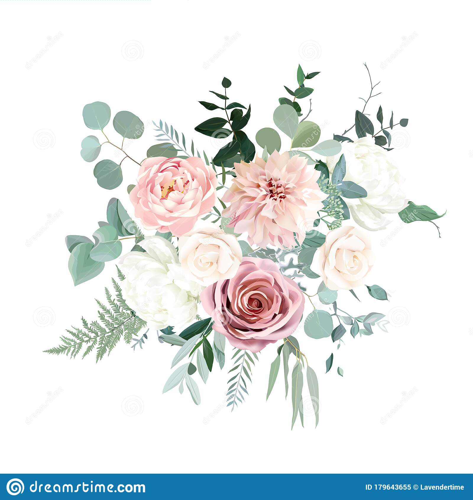 Silver Sage Green And Blush Pink Flowers Vector Design Bouquet Stock Vector Illustration Of Celebration Drawing 179643655