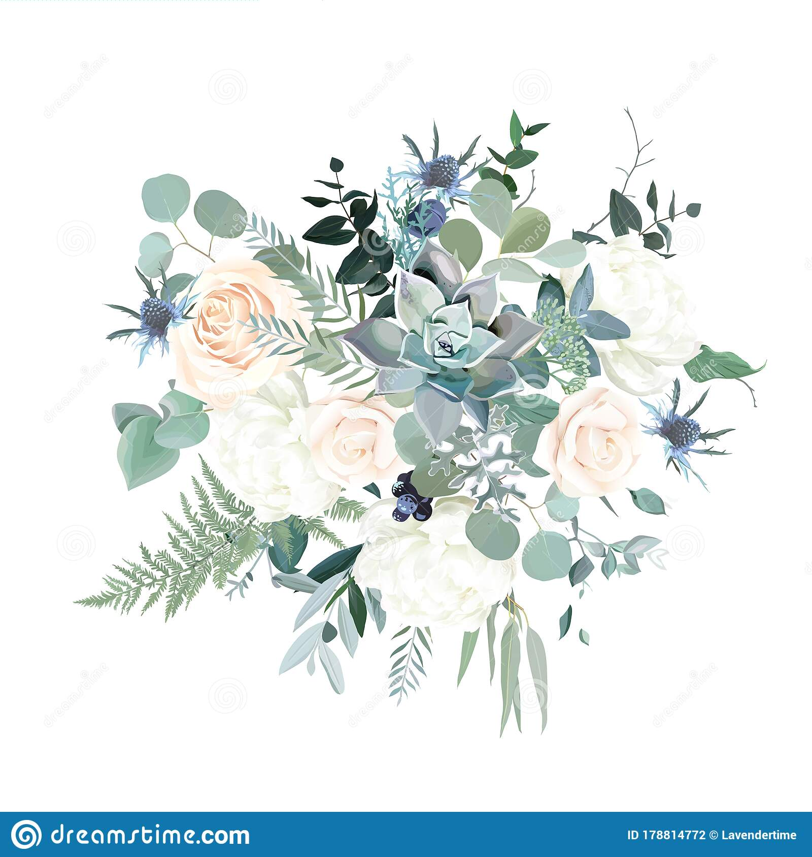 Silver Sage Green Pink Blush And White Flowers Vector Design Spring Bouquet Stock Vector Illustration Of Decoration Pastel 178814772
